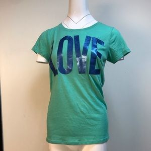 """VS PINK """"LOVE / PINK"""" turquoise graphic T-shirt"""